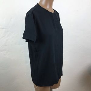 EMANUEL UNGARO Black SILK Short Sleeve CAREER TOP